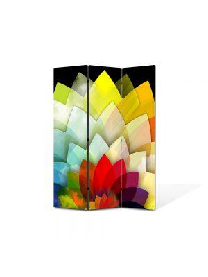 Paravan de Camera ArtDeco din 3 Panouri Abstract Decorativ Floare stilizata 105 x 150 cm