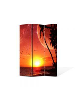 Paravan de Camera ArtDeco din 3 Panouri Abstract Decorativ Apus pe plaja 105 x 150 cm