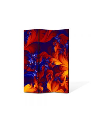 Paravan de Camera ArtDeco din 3 Panouri Abstract Decorativ Frunze exotice 105 x 150 cm