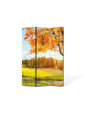 Paravan de Camera ArtDeco din 3 Panouri Peisaj Toamna pe campie 105 x 150 cm