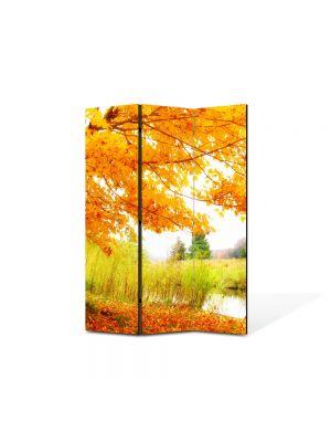 Paravan de Camera ArtDeco din 3 Panouri Peisaj Copac pe malul lacului 105 x 150 cm