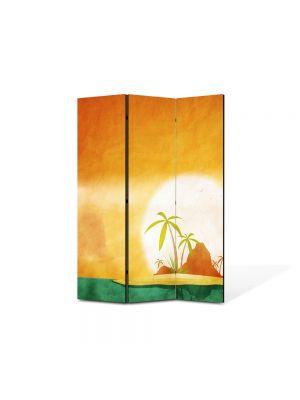 Paravan de Camera ArtDeco din 3 Panouri Peisaj Insule tropicale 105 x 150 cm