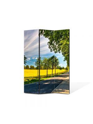 Paravan de Camera ArtDeco din 3 Panouri Peisaj Drum umbrit 105 x 150 cm