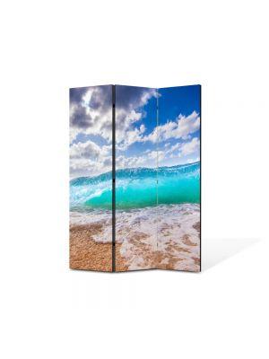 Paravan de Camera ArtDeco din 3 Panouri Peisaj Valul 105 x 150 cm