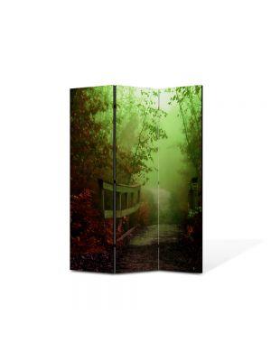 Paravan de Camera ArtDeco din 3 Panouri Peisaj Pod de lemn 105 x 150 cm