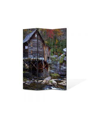 Paravan de Camera ArtDeco din 3 Panouri Peisaj Moara de apa 105 x 150 cm