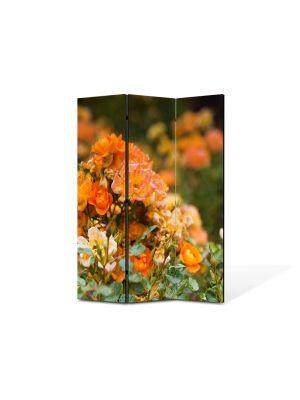 Paravan de Camera ArtDeco din 3 Panouri Peisaj Trandafiri salbatici 105 x 150 cm