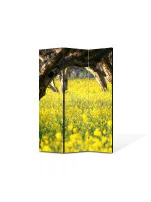 Paravan de Camera ArtDeco din 3 Panouri Peisaj Floricele sub copaci 105 x 150 cm