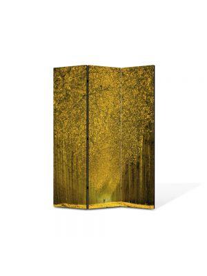 Paravan de Camera ArtDeco din 3 Panouri Peisaj Perspectiva copaci 105 x 150 cm