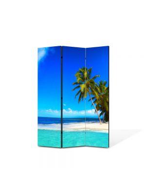 Paravan de Camera ArtDeco din 3 Panouri Peisaj La plaja 105 x 150 cm