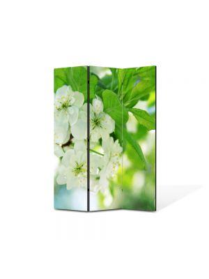 Paravan de Camera ArtDeco din 3 Panouri Peisaj Flori inflorite 105 x 150 cm