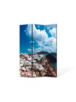Paravan de Camera ArtDeco din 3 Panouri Peisaj Grecia 105 x 150 cm