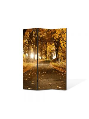 Paravan de Camera ArtDeco din 3 Panouri Peisaj Drum de toamna 105 x 150 cm