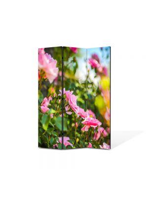 Paravan de Camera ArtDeco din 3 Panouri Peisaj Trandafiri roz 105 x 150 cm