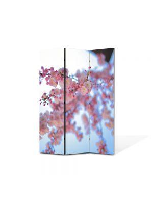 Paravan de Camera ArtDeco din 3 Panouri Peisaj Crenguta roz 105 x 150 cm