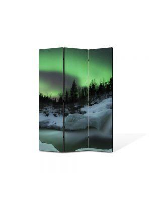 Paravan de Camera ArtDeco din 3 Panouri Peisaj Aurora Boreala 105 x 150 cm