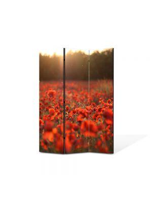 Paravan de Camera ArtDeco din 3 Panouri Peisaj Camp de maci 105 x 150 cm