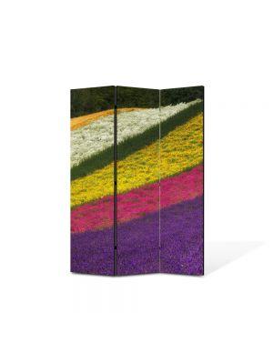 Paravan de Camera ArtDeco din 3 Panouri Peisaj Lanuri colorate 105 x 150 cm