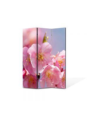 Paravan de Camera ArtDeco din 3 Panouri Peisaj Inflorit 105 x 150 cm
