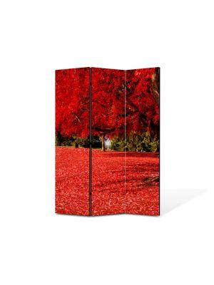 Paravan de Camera ArtDeco din 3 Panouri Peisaj Covor rosu sub copac 105 x 150 cm