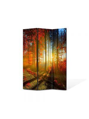 Paravan de Camera ArtDeco din 3 Panouri Peisaj Lumina printre copaci 105 x 150 cm