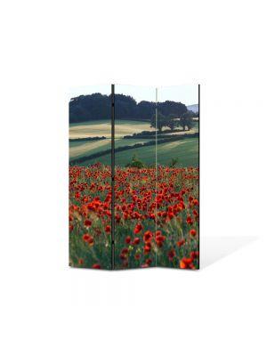 Paravan de Camera ArtDeco din 3 Panouri Peisaj Maci la orizont 105 x 150 cm