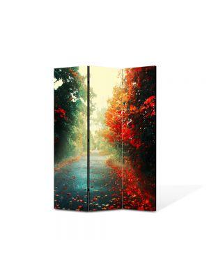 Paravan de Camera ArtDeco din 3 Panouri Peisaj Sosea dupa ploaie 105 x 150 cm