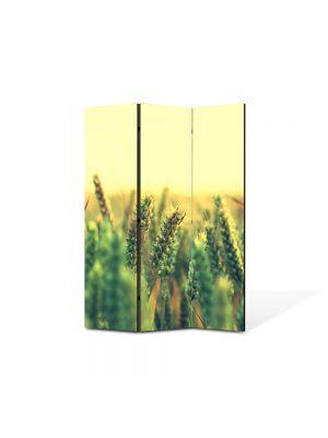 Paravan de Camera ArtDeco din 3 Panouri Peisaj Grau verde 105 x 150 cm