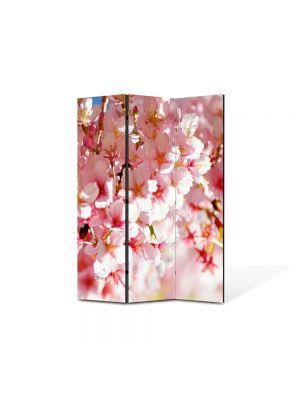 Paravan de Camera ArtDeco din 3 Panouri Peisaj Flori de gutui 105 x 150 cm