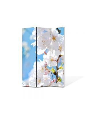 Paravan de Camera ArtDeco din 3 Panouri Peisaj Floare nuante Alb-albaste  105 x 150 cm