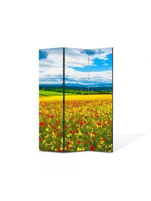 Paravan de Camera ArtDeco din 3 Panouri Peisaj De la pamant la cer 105 x 150 cm