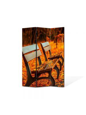 Paravan de Camera ArtDeco din 3 Panouri Peisaj Banci in parc 105 x 150 cm