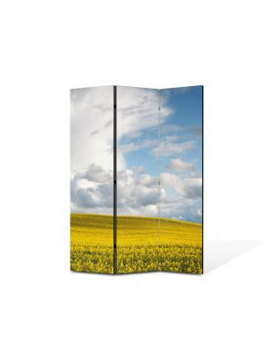 Paravan de Camera ArtDeco din 3 Panouri Peisaj Nori frumosi 105 x 150 cm