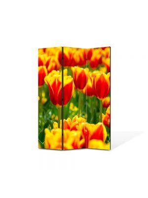 Paravan de Camera ArtDeco din 3 Panouri Peisaj Lalele in 2lori 105 x 150 cm