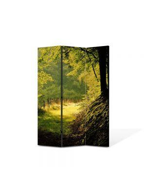Paravan de Camera ArtDeco din 3 Panouri Peisaj Poteca umbrita 105 x 150 cm