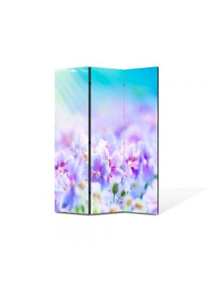 Paravan de Camera ArtDeco din 3 Panouri Peisaj Flori violet 105 x 150 cm