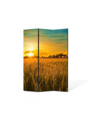 Paravan de Camera ArtDeco din 3 Panouri Peisaj Apus in lanul de grau 105 x 150 cm