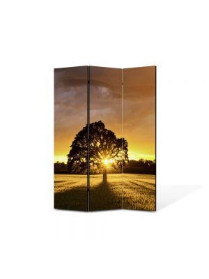 Paravan de Camera ArtDeco din 3 Panouri Peisaj Ascuns dupa copac 105 x 150 cm