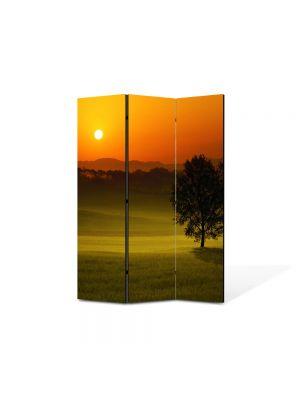 Paravan de Camera ArtDeco din 3 Panouri Peisaj Privind apusul 105 x 150 cm