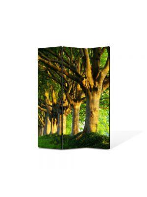 Paravan de Camera ArtDeco din 3 Panouri Peisaj Trunchiuri in linie 105 x 150 cm