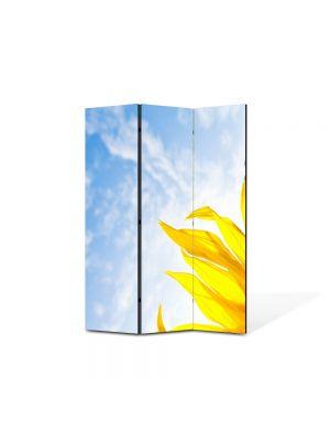 Paravan de Camera ArtDeco din 3 Panouri Peisaj Sora soarelui 105 x 150 cm
