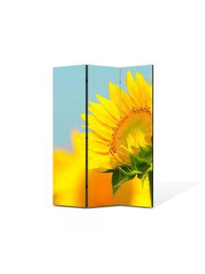 Paravan de Camera ArtDeco din 3 Panouri Peisaj Pui de floarea soarelui 105 x 150 cm