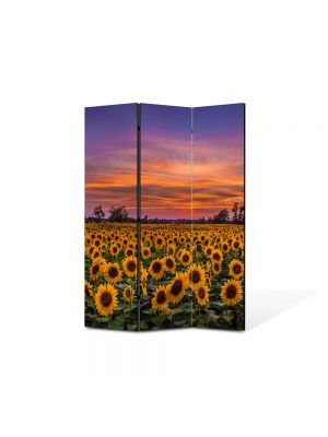 Paravan de Camera ArtDeco din 3 Panouri Peisaj Floarea soarelui la apus 105 x 150 cm