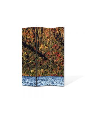 Paravan de Camera ArtDeco din 3 Panouri Peisaj Lac 105 x 150 cm