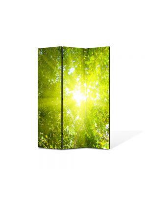 Paravan de Camera ArtDeco din 3 Panouri Peisaj Raze de soare 105 x 150 cm