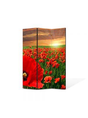 Paravan de Camera ArtDeco din 3 Panouri Peisaj Maci la apus 105 x 150 cm