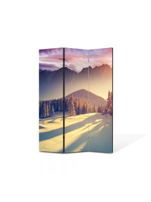 Paravan de Camera ArtDeco din 3 Panouri Peisaj La munte iarna 105 x 150 cm