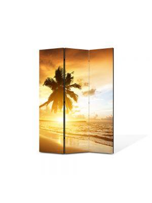 Paravan de Camera ArtDeco din 3 Panouri Peisaj Palmieri pe plaja 105 x 150 cm