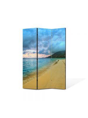 Paravan de Camera ArtDeco din 3 Panouri Peisaj Urme de pasi 105 x 150 cm