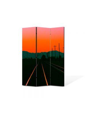 Paravan de Camera ArtDeco din 3 Panouri Peisaj Cale ferata la apus 105 x 150 cm